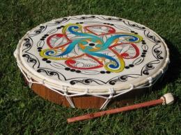 Šamanský rámový buben barevný